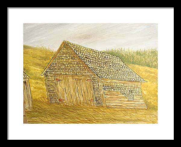 Barn Framed Print featuring the painting Leaning In by Norman F Jackson
