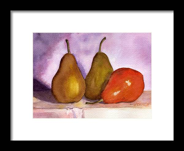 Watercolor Framed Print featuring the painting Leaning Pear by Lynne Reichhart