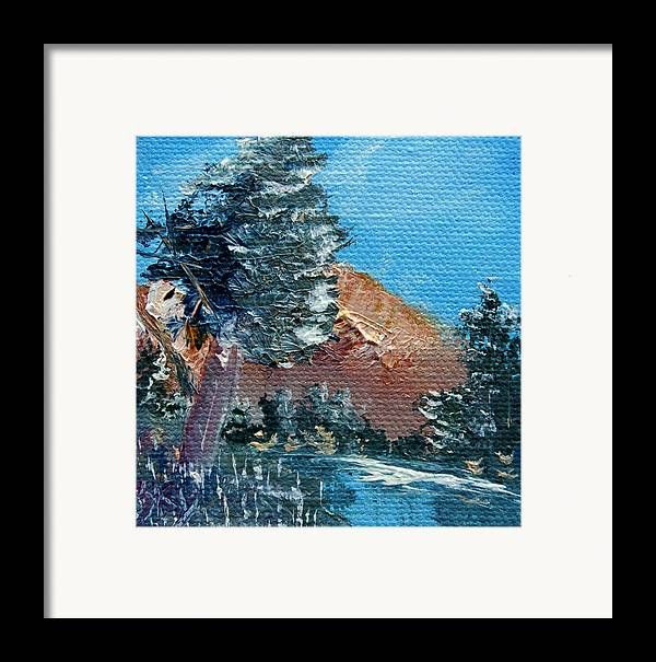 Landscape Framed Print featuring the painting Leaning Pine Tree Landscape by Jera Sky