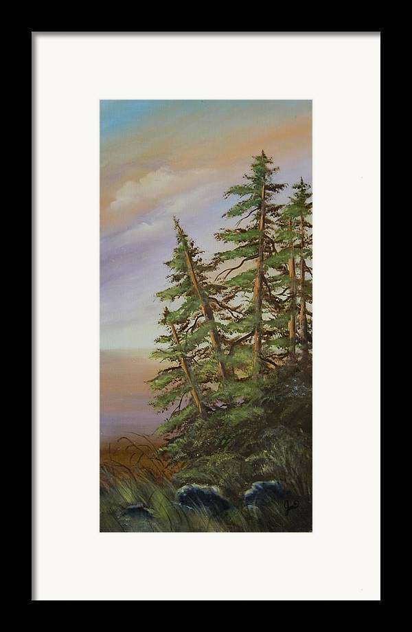 Landscape Framed Print featuring the painting Leaning Trees by Joni McPherson