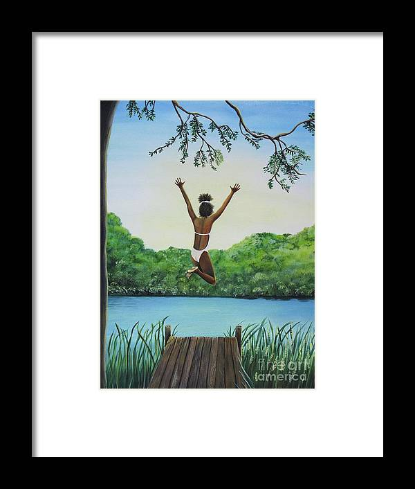 Summer Vacation Framed Print featuring the painting Leap Of Faith by Kris Crollard