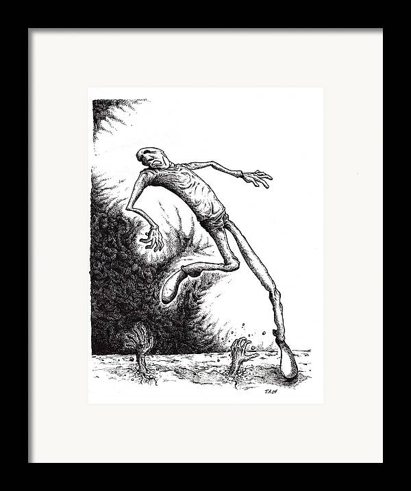 Black And White Framed Print featuring the drawing Leap by Tobey Anderson