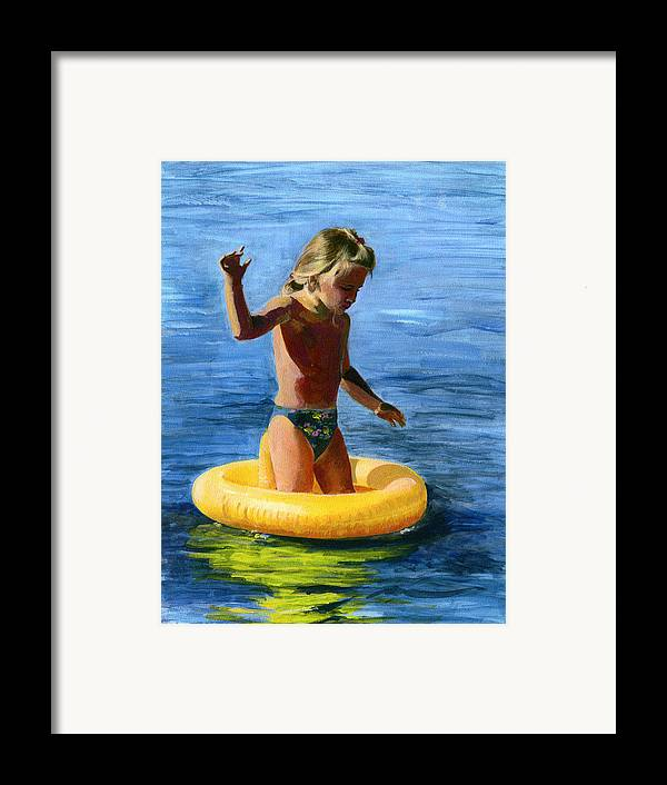 Swim Framed Print featuring the painting Learning To Swim by Fiona Jack