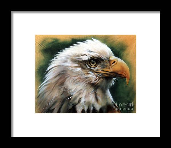 Southwest Art Framed Print featuring the painting Leather Eagle by J W Baker