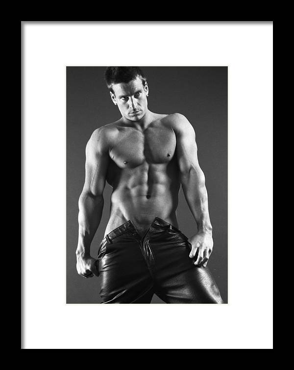 Male Nudes Framed Print featuring the photograph Leather Lothario by Thomas Mitchell