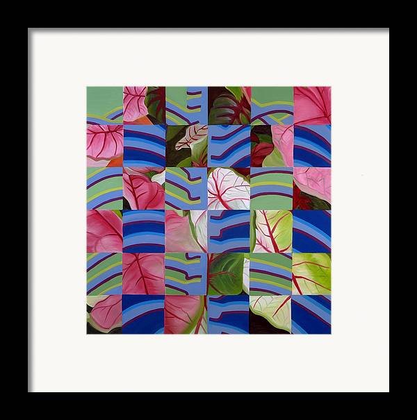 Abstract Framed Print featuring the painting Leaves And Bones by Sunhee Kim Jung