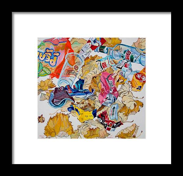 Leaf Framed Print featuring the painting Leaves And Rubbish by Vitali Komarov