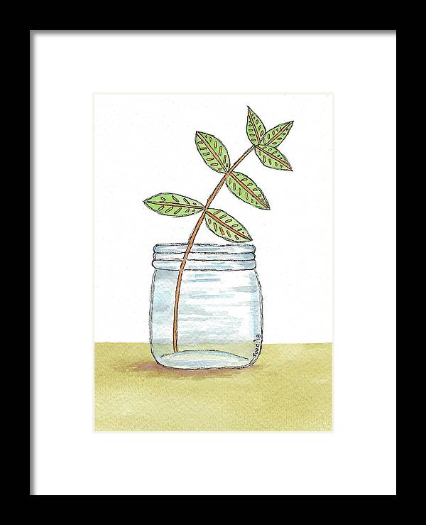 Watercolor And Ink Framed Print featuring the painting Leaves In A Jar by Susan Campbell
