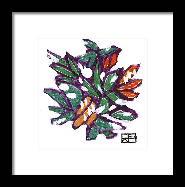 Still Life Design Framed Print featuring the painting Leaves In Snow by Helen Pisarek