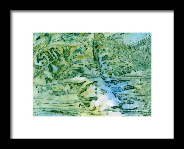 Leaf Framed Print featuring the painting Leaves In Water by Janet Hild