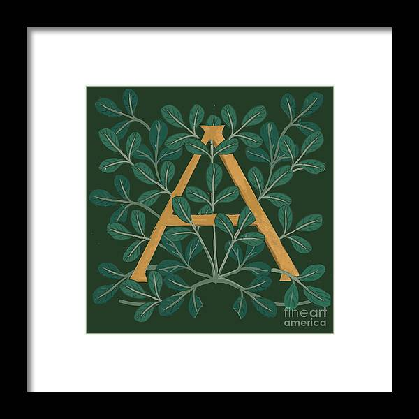 Letter A Framed Print featuring the digital art Leaves Letter A by Donna Huntriss
