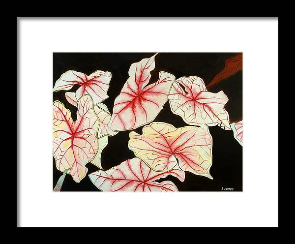 Leaves Framed Print featuring the painting Leaves by Sunhee Kim Jung