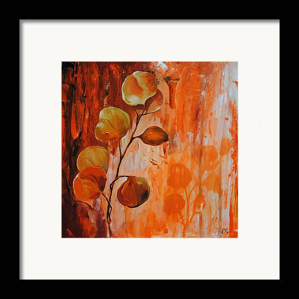 Leaves Framed Print featuring the painting Leaves1 by Chris Steinken