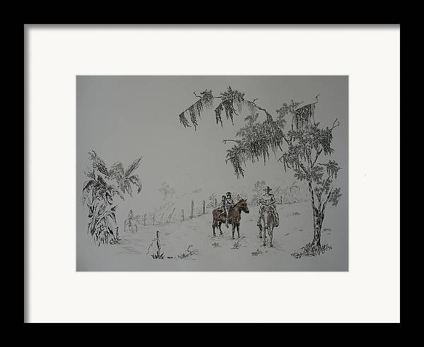 Landscape Framed Print featuring the drawing Leaving Home by Gloria Reyes Diaz