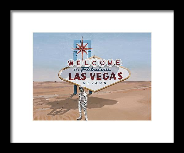 Astronaut Framed Print featuring the painting Leaving Las Vegas by Scott Listfield