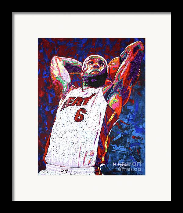 Lebron Framed Print featuring the painting Lebron Dunk by Maria Arango