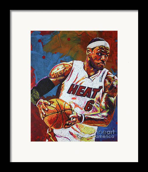 Lebron Framed Print featuring the painting Lebron James 3 by Maria Arango