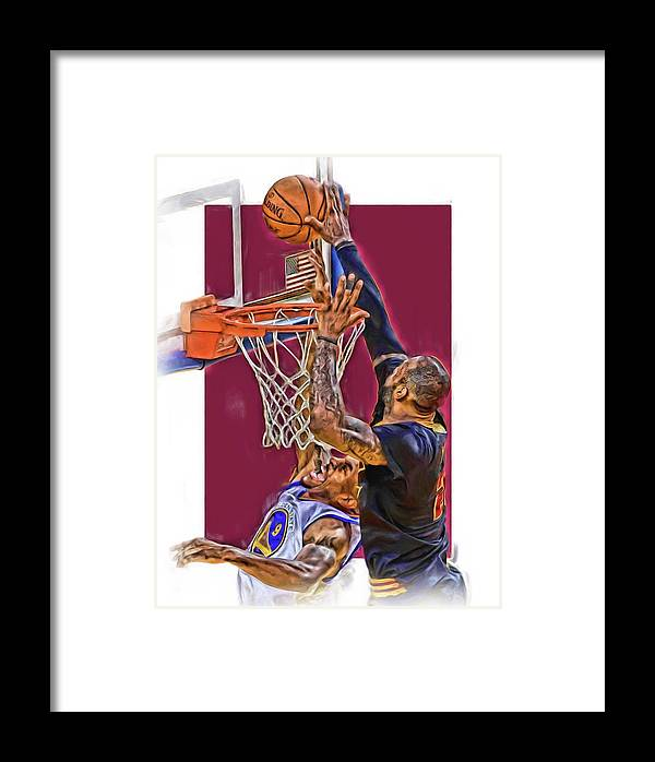 Lebron James Framed Print featuring the mixed media Lebron James Cleveland Cavaliers Oil Art by Joe Hamilton