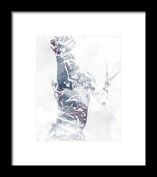 06af359322d Lebron James Framed Print featuring the mixed media Lebron James Cleveland  Cavaliers Water Color Pixel Art