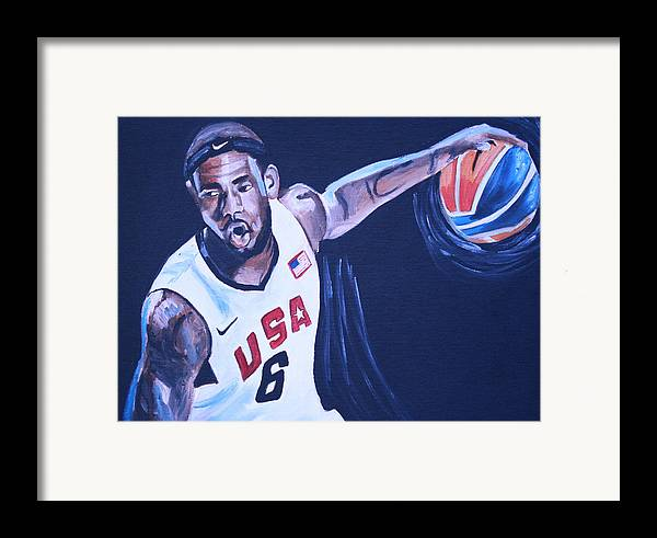 Basketball Paintings Framed Print featuring the painting Lebron James Portrait by Mikayla Ziegler