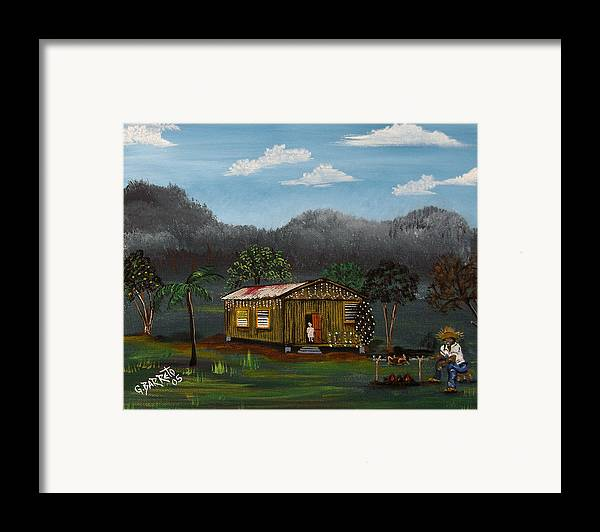 Lecheon A La Bara Framed Print featuring the painting Lecheon A La Bara by Gloria E Barreto-Rodriguez
