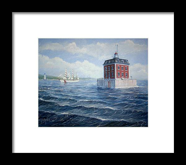 Lighthouse Framed Print featuring the painting Ledge Lighthouse by William H RaVell III