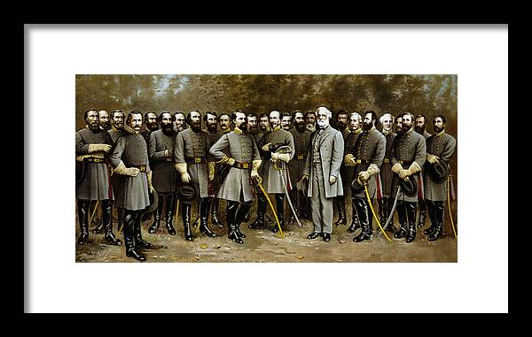 Confederate Framed Print featuring the painting Robert E. Lee and His Generals by War Is Hell Store