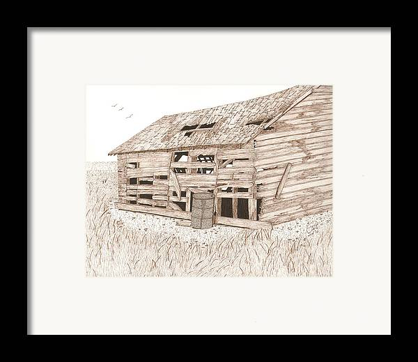 Pen And Ink Framed Print featuring the drawing Lee's Barn by Pat Price