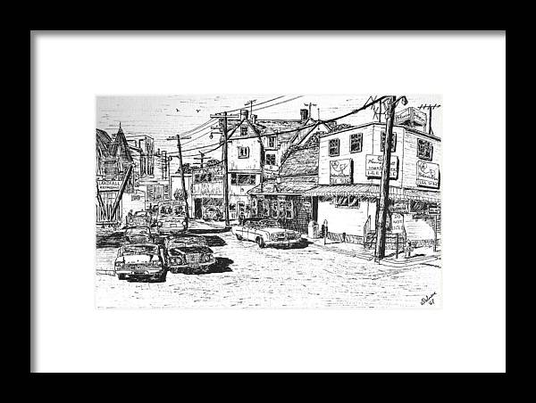 Woods Hole Framed Print featuring the drawing Leeside Tavern by Vic Delnore