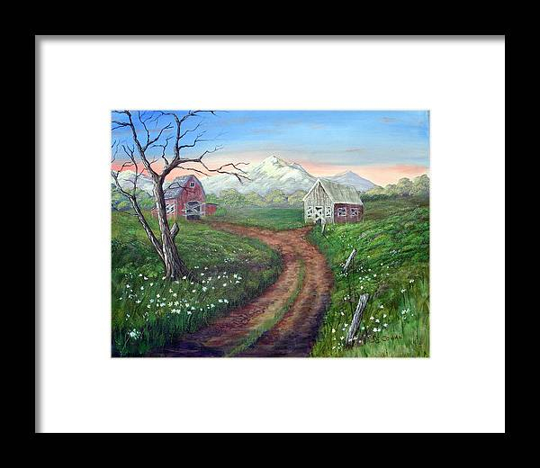 Landscape Framed Print featuring the painting Left Behind - The Old Homestead by SueEllen Cowan