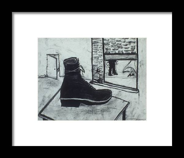 Charcoal Framed Print featuring the drawing Left Behind by Jamie Wooten