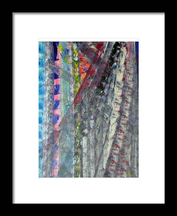 Abstract Framed Print featuring the painting Left Blue by Russell Simmons