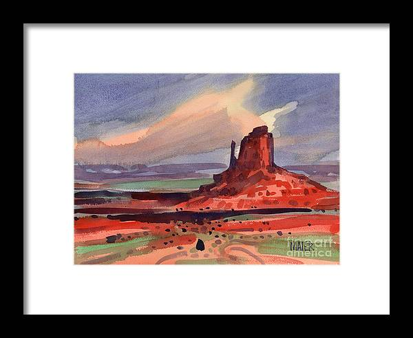 Left Mitten Framed Print featuring the painting Left Mitten At Sunset by Donald Maier
