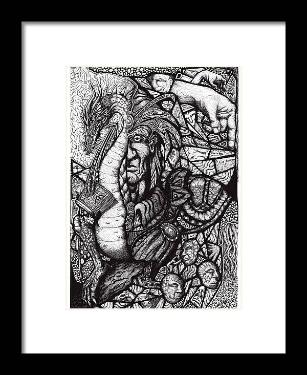 Pen And Ink Framed Print featuring the drawing Legend by Tobey Anderson