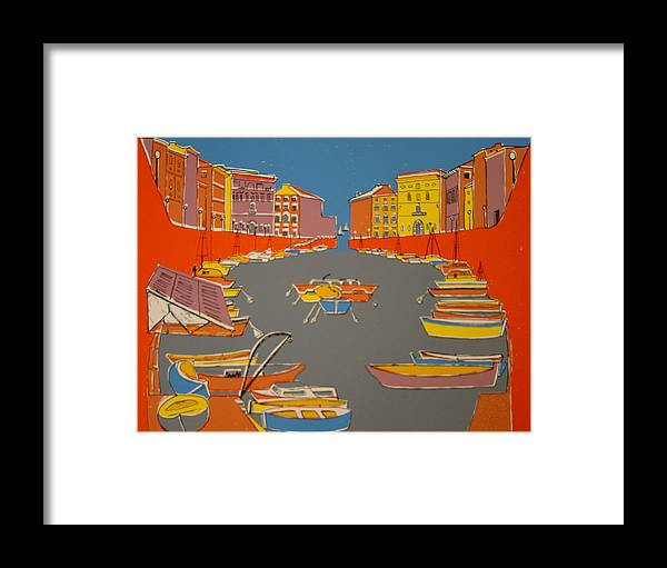 Framed Print featuring the painting Leghorn Canal by Biagio Civale