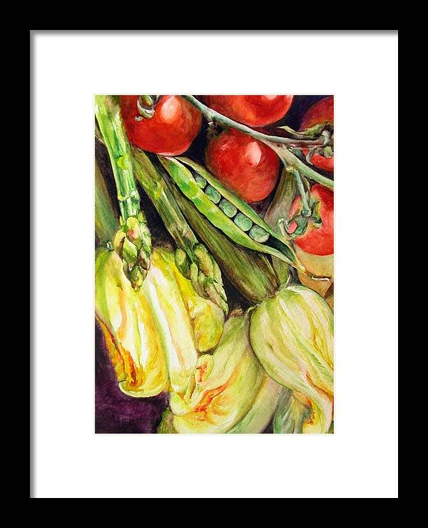 Still Life Framed Print featuring the painting Legumes by Muriel Dolemieux