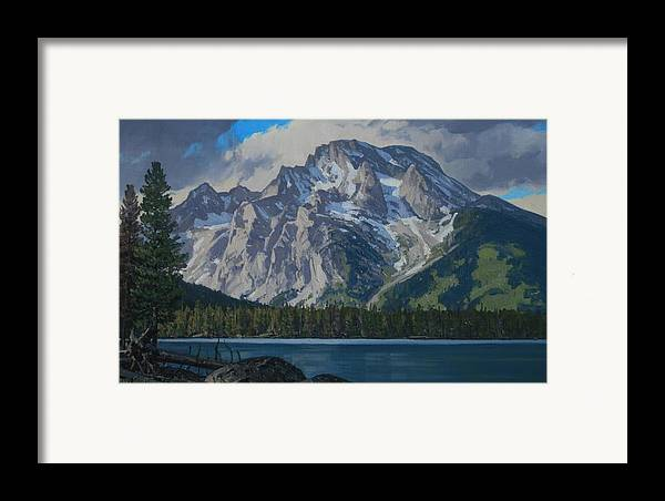 Landscape Framed Print featuring the painting Leigh Lake by Lanny Grant