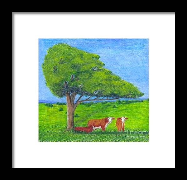 Cattle Framed Print featuring the pastel Leisure Time by Mendy Pedersen