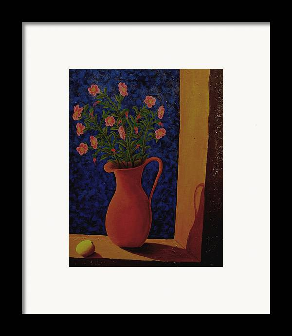 Still Life Framed Print featuring the painting Lemon And Prairie Roses by Arnold Isbister