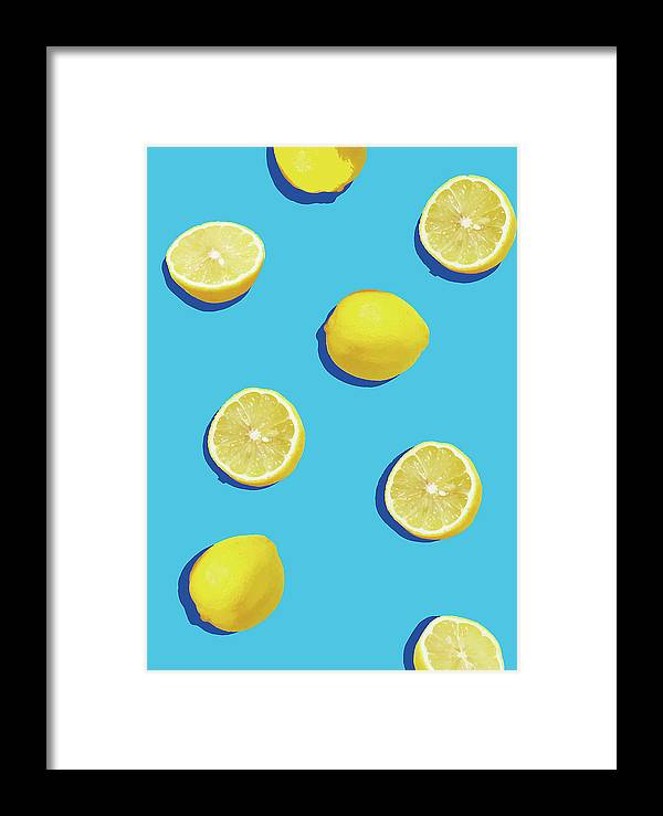 Lemon Framed Print featuring the digital art Lemon Pattern by Rafael Farias
