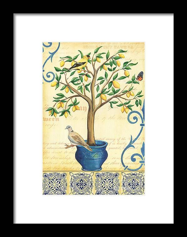 Lemon Framed Print featuring the painting Lemon Tree Of Life by Debbie DeWitt