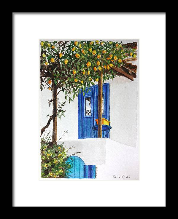 Lemon Tree Framed Print featuring the painting Lemon Tree by Yvonne Ayoub
