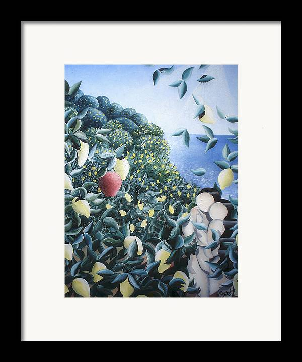 Landscape Framed Print featuring the painting Lemon Trees by Massimiliano Stanco