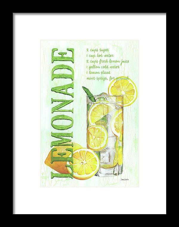 Lemon Framed Print featuring the painting Lemonade by Debbie DeWitt