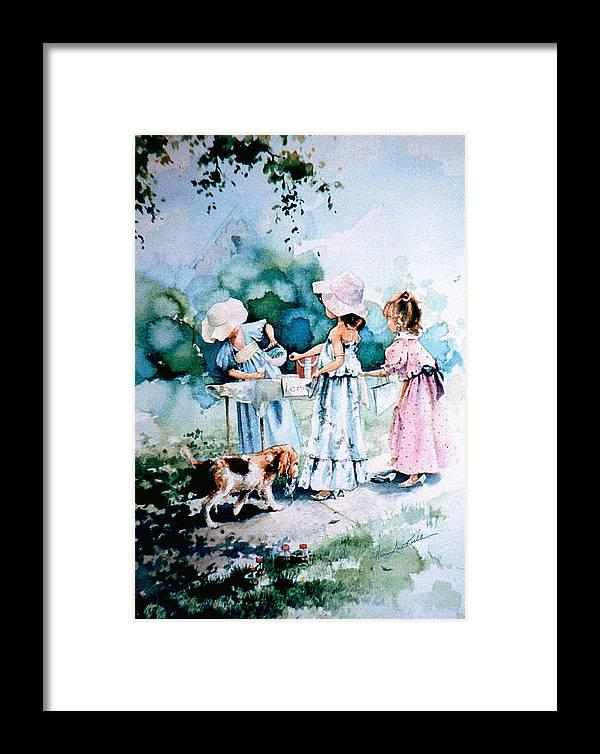 Lemonade Stand Framed Print featuring the painting Lemonade Ladies by Hanne Lore Koehler