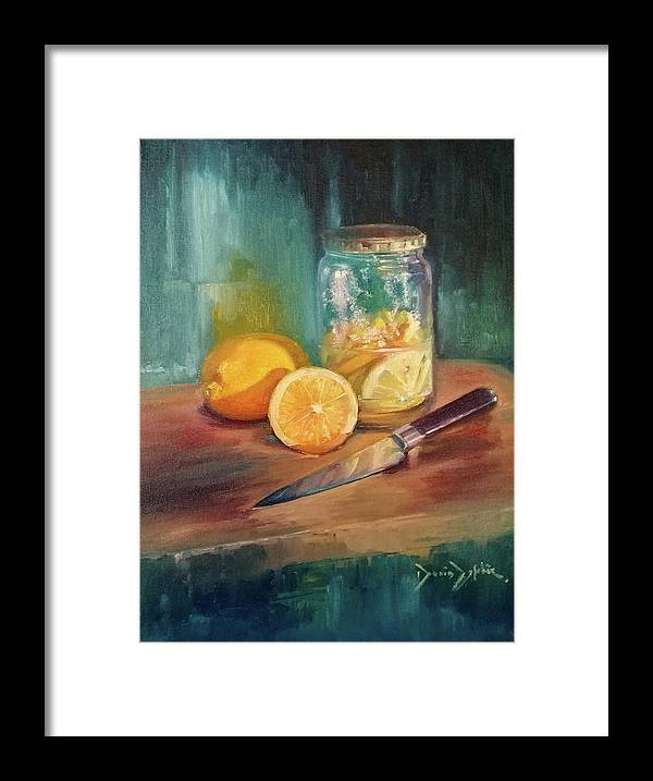 Still Life Framed Print featuring the painting Lemoni by Denis Zephir