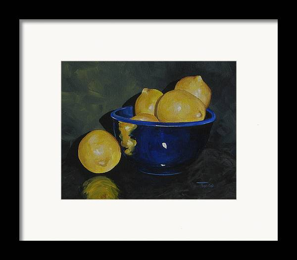 Lemons Framed Print featuring the painting Lemons And Blue Bowl IIi by Torrie Smiley