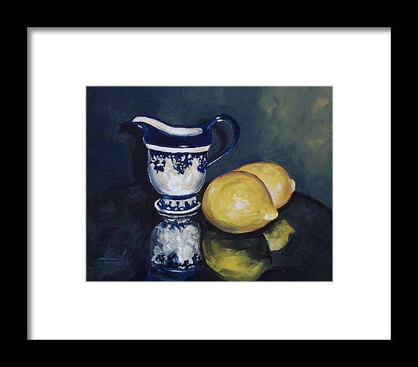 Cream Framed Print featuring the painting Lemons And Cream by Torrie Smiley