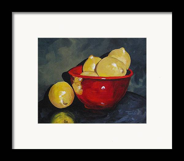 Red Bowl Framed Print featuring the painting Lemons And Red Bowl IIi by Torrie Smiley