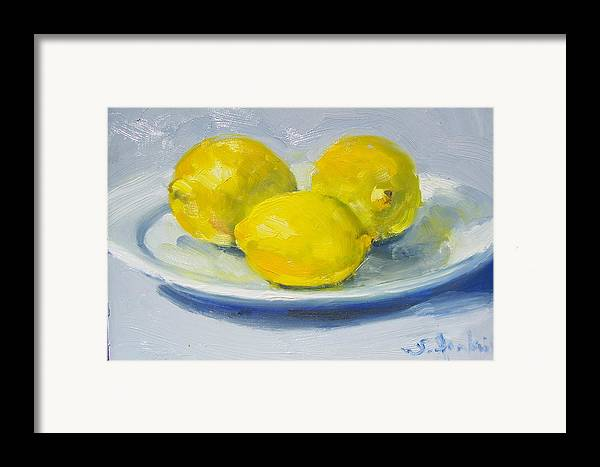 Still Life Framed Print featuring the painting Lemons On A White Plate by Susan Jenkins